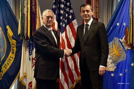 Montenegro Defense Minister Meets Mattis in Washington, Confirms They Will Join KFOR Mission in Kosovo